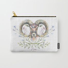 Aries zodiac symbol. Ram's watercolor portrait with wildflowers ornament. Carry-All Pouch