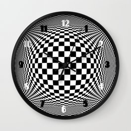 Optical Illusion Checkers Chequeres  Wall Clock