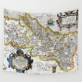 Map of the Kingdom of Portugal by Abraham Ortelius, dated 1560 Wall Tapestry