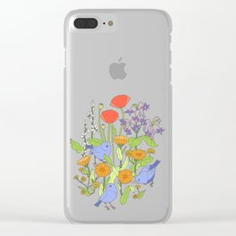 Birds and Wild Blooms Clear iPhone Case