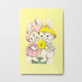 Bunny Girl + Boy Metal Print