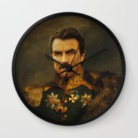 replaceface Wall Clocks featuring Tom Selleck - replaceface by replaceface