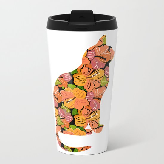 Cat Silhouette With Hibiscus Flowers Inlay Metal Travel Mug