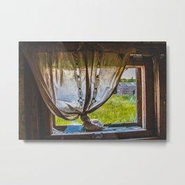 Bathroom Window, Abandoned Farm House, North Dakota Metal Print