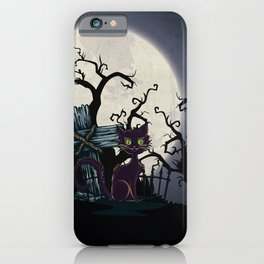 Vintage Halloween Cemetery Cat iPhone Case