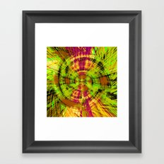 vintage psychedelic abstract pattern in green pink brown yellow Framed Art Print