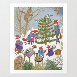 A Very Foxy Christmas Art Print