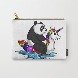 Panda Bear Riding Unicorn Float Pool Party Carry-All Pouch