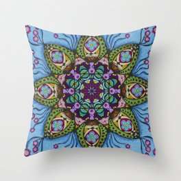 Blue Health Mandala - מנדלה בריאות Throw Pillow
