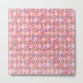 Luxury Gold and Pink Glitter effect oriental pattern on #Society6 Metal Print