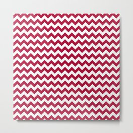 Crimson and White Chevron Print Metal Print