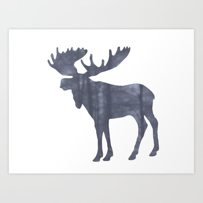 Moose Silhouette Woods Country Home Decor Farmhouse Art A064b Art Print By Nicolphotographicart