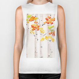 Autumn Birch Song Biker Tank