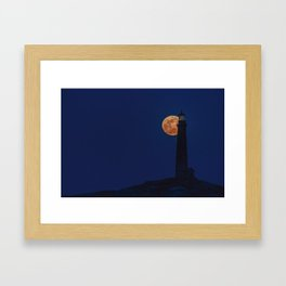 Full blue moon behind Thacher island lighthouse Framed Art Print