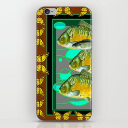 YELLOW MONARCH BUTTERFLIES & BROWN  FISH VIGNETTE iPhone Skin