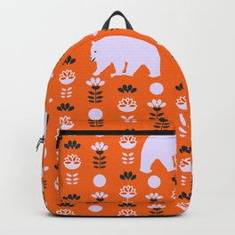 White bears and happy flowers Backpack