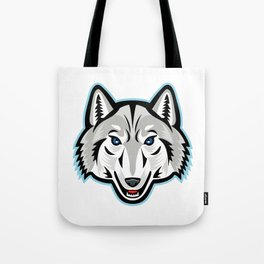 Artic Wolf Head Front Mascot Tote Bag