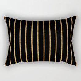 Golden lines on black Rectangular Pillow