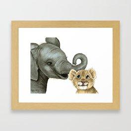 Elephant Calf and Lion Cub Framed Art Print