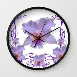 WHITE CATTLEYA ORCHIDS & PURPLE  ART Wall Clock