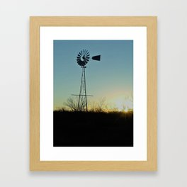 Sunset Glow On Windmill Framed Art Print