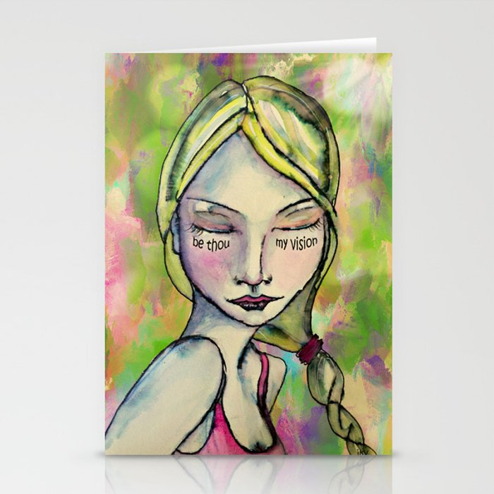 Watercolor Girl Be Thou My Vision Stationery Cards by jannavanderveen
