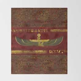 Golden Egyptian God Ornament on red leather Throw Blanket