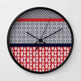 Japanese Style Ethnic Quilt Blue and Red Wall Clock