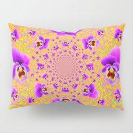 PURPLE-LIME MODERN ART PURPLE-GOLDEN PANSIES Pillow Sham