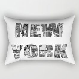 New York  B&W typography Rectangular Pillow