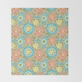 Birds and Flowers Mosaic - Green, orange, yellow Throw Blanket