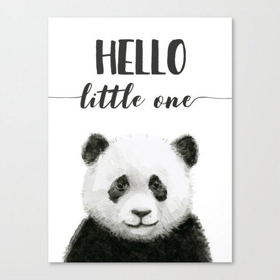 Panda Art Print Baby Animals Hello Little One Nursery Decor Canvas Print