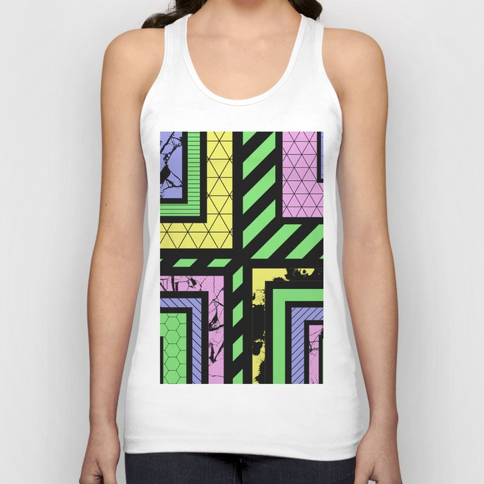 Pastel Corners (Abstract, geometric, textured designs) Unisex Tank Top