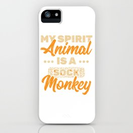 My Spirit Animal Is A Sock Monkey T-shirt Design With Long Tail, Limbs And A Bright Red Lips  iPhone Case
