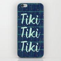 tiki iPhone & iPod Skins featuring Tiki Tiki Tiki - Navy/ Teal by YouNameIt