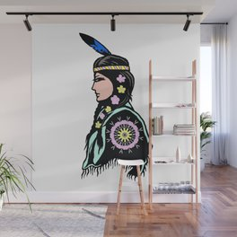 Indian woman with flowers Wall Mural