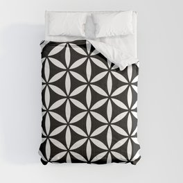 flower of life - simple black and white geometric symbol Comforters
