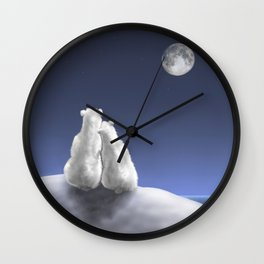 Polar Bears by Moonlight Wall Clock
