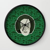 dana scully Wall Clocks featuring Dana Scully by Kuki