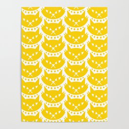 Mid Century Modern Cat Yellow Poster