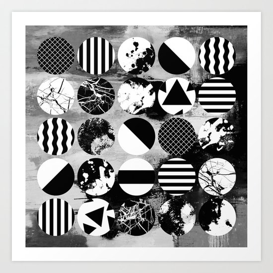 Eclectic Circles - Black and white, abstract, geometric, textured designs Art Print