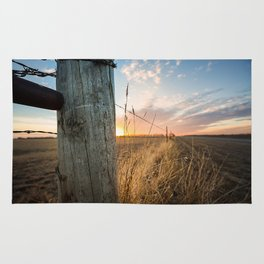 Late December - Western Scene of Fence Post and Sunset Rug