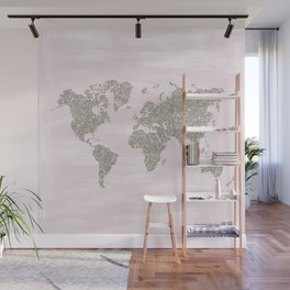 Pink and silver glitter world map Wall Mural