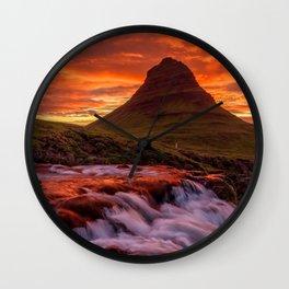 Kirkjufellsfoss Grundarfjorour Iceland Ultra Hd Wall Clock
