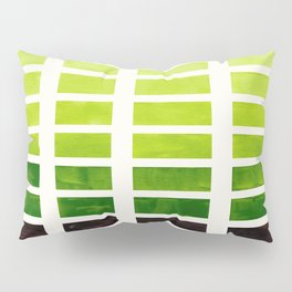 Sap Green Minimalist Mid Century Grid Pattern Staggered Square Matrix Watercolor Painting Pillow Sham