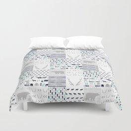 Camper antlers bears pattern minimal nursery basic navy mint grey white camping cabin chalet decor Duvet Cover