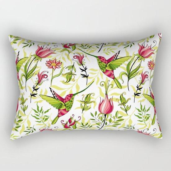 Hummingbird and flowers Rectangular Pillow
