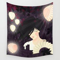 tokyo Wall Tapestries featuring Tokyo by Jenny Lloyd Illustration