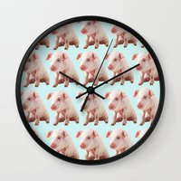pigs Wall Clocks featuring Pigs by Dora Birgis