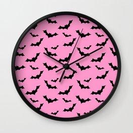Black Bat Pattern on Pink Wall Clock